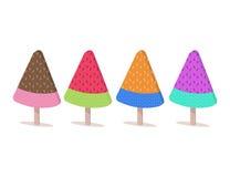 De lujo la sandía helado en el palillo de madera Diseño plano Imagen de archivo libre de regalías