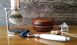 ` De lujo s de los hombres que afeita los accesorios foto de archivo