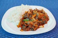 De lunch van Chinesse met gebraden rundvlees royalty-vrije stock afbeeldingen