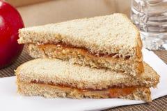 De Lunch van de Zak van de Pindakaas en van de Gelei stock afbeelding