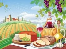 De lunch van het dorp. Toscanië stock illustratie