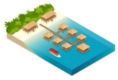 De luxe overwater met stro bedekte dakbungalow in een toevlucht van de wittebroodswekenvakantie in de duidelijke blauwe lagune me Stock Foto