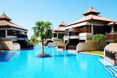 De luxevilla's in Thais stijlhotel op Palm Jumeirah Royalty-vrije Stock Foto's
