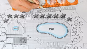 De Luxevilla van Designs Pool For van de landschapsarchitect stock videobeelden