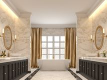 De luxueuze badkamers met witte marmeren muren en 3d de vloeren geven terug royalty-vrije illustratie