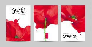 De luxueuze heldere rode vectordiePapaver bloeit schilderijen op wit worden geplaatst stock illustratie