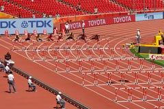 De 110m Hindernissen inleidend in het 2015 IAAF Kampioenschap van de Wereldatletiek in Beijin Stock Foto's