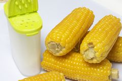 De maïskolf van gekookt graan ligt op een schotel Op een witte achtergrond Royalty-vrije Stock Afbeelding