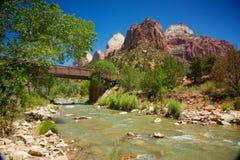 De Maagdelijke Rivier van Zion National Park Stock Afbeeldingen