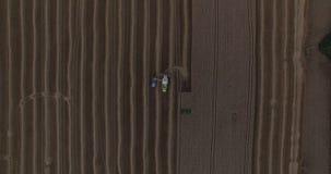 De maaimachine maakt tarwe in vrachtwagen luchtmening leeg stock videobeelden