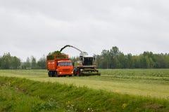 De maaimachine verzamelt droog gras royalty-vrije stock afbeelding