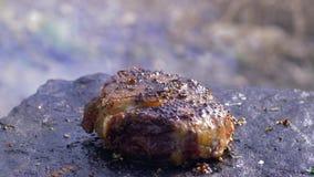 De maaltijd in aard, succulent vettig rundvleesfilethaakwerk in kruid roosterde op hete steen bij brand met rook in in openlucht  stock videobeelden