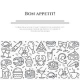 De maaltijd als thema heeft zwart-witte banner Pictogrammen van lapje vlees, vissen, pastei, wijn, garnalen, pizza en ander resta stock illustratie