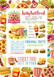 De maaltijd en de snacks vectoraffiche van snel voedselburgers Stock Fotografie