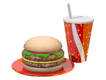 De Maaltijd van de hamburger Royalty-vrije Illustratie