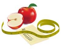 De maaltijd van het dieet met appelen en metingsband royalty-vrije illustratie