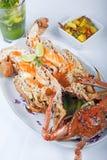 De maaltijd van zeevruchten van krab en zeekreeft royalty-vrije stock fotografie
