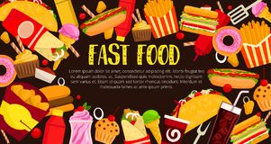 De maaltijd vectoraffiche van het snel voedselrestaurant Stock Fotografie