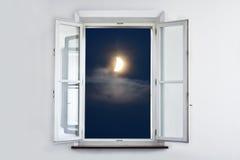 De maan bij het venster Royalty-vrije Stock Afbeeldingen