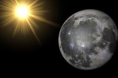 De maan in de ruimte Stock Foto's