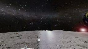 de maan en de gloeiende Melkweg en de sterren vector illustratie