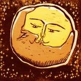 De maan en de planeet van de combinatie Stock Afbeeldingen