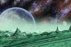 De maan en de planeet van de steen vector illustratie