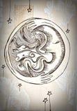 De maan en de wind met een schokhand Royalty-vrije Stock Afbeeldingen