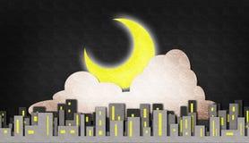 De maan en de wolkennachtscène van de stad Stock Fotografie
