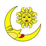 De maan en de Zon vector illustratie