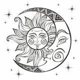 De Maan en de Zon Oud astrologisch symbool gravure Bohostijl etnisch Het symbool van de dierenriem mystical kleuring stock illustratie