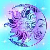 De Maan en de Zon Oud astrologisch symbool gravure Bohostijl etnisch Het symbool van de dierenriem mystical Vector stock illustratie