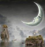 De maan is in hemel stock illustratie