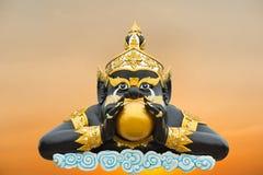 De maan in mond Rahoo op wit in Wat Saman Royalty-vrije Stock Afbeelding