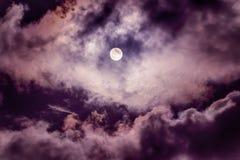 De maan op de donkere hemel Stock Foto