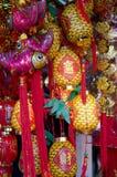 De maan Rode Ornamenten van het Nieuwjaar Stock Fotografie