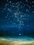 De maan van de nacht in grote ruimte Royalty-vrije Stock Foto