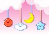 De maan van de wolkenzon en sterren het hangen Royalty-vrije Stock Foto's