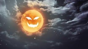 De maan van Halloween van het pompoengezicht en donkere hemel stock illustratie