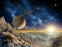 De maan van Saturnus Stock Foto's