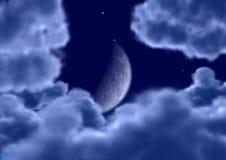 De maan in wolken stock illustratie
