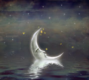 De maan wordt weerspiegeld in golvend water royalty-vrije illustratie