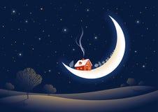 De maanbeschenen nacht van Kerstmis Royalty-vrije Stock Afbeelding