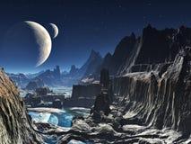 De maanbeschenen Vreemde Canion van de Vallei Stock Afbeeldingen