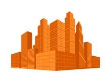 de maand van Mei Het gebied van de binnenstad Bedrijfsdistrict Wolkenkrabbers in perspectief Vector illustratie Stock Fotografie
