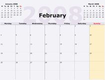 De maandag aan Zondag calen maandelijks Stock Afbeelding