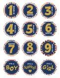 De maandelijkse stickers van de zwangerschapsbuik met schitteren elementen voor foto en pret Buitensporige kinderachtige patronen Royalty-vrije Stock Foto's