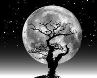 De maanillustratie en boom van de rooster Stock Afbeelding