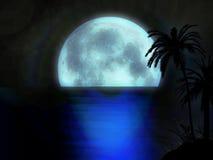 De maanstijging van Moonset met boom bij nachtsilhouet Stock Foto