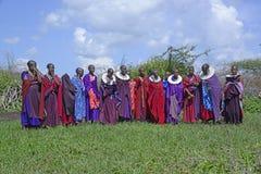 De Maasai kvinnorna samlar tillsammans för en dans som bär färgrika ämbetsdräkter och invecklad ceremoniel haklapp-som prydde med arkivbilder